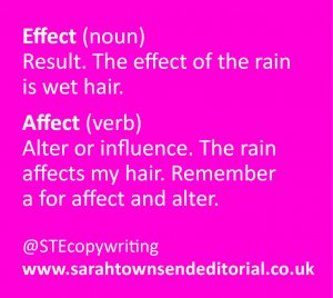 Confusables affect vs effect. Language and spelling tips from copywriter Sarah Townsend Editorial