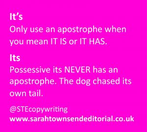 Confusables it's vs its. Language and spelling tips from UK copywriter Sarah Townsend Editorial