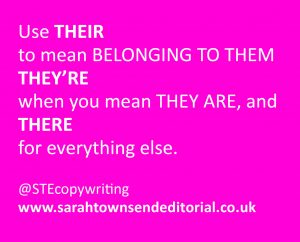 THERE vs THEIR vs THEY'RE – spelling tips from Sarah Townsend Editorial