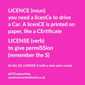 Confusables: LICENCE vs LICENSE. Simple spelling tips to remember the difference, from UK copywriter, Sarah Townsend Editorial