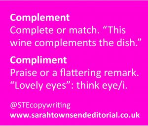 COMPLEMENT or COMPLIMENT: top spelling tips to help you remember the difference.